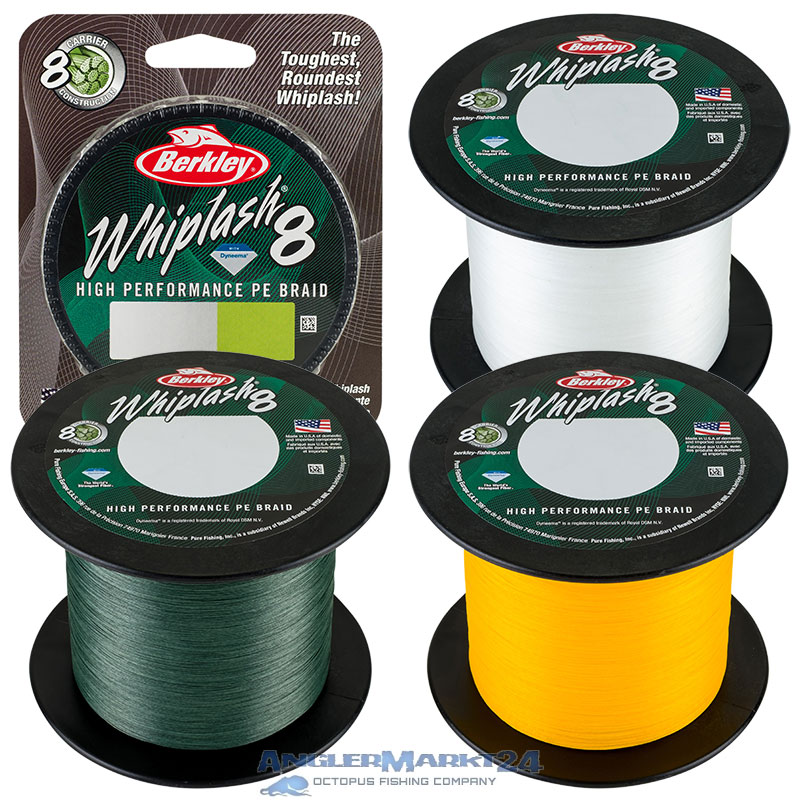 "BERKLEY ""Whiplash 8"" je 50m geflochtene Angelschnur Green, Yellow & Crystal"