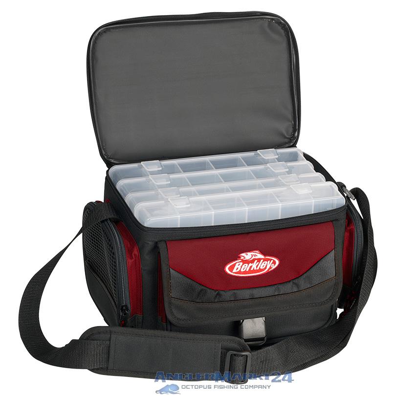 """BERKLEY """"System Bag + 4 Boxes"""" Rot-Schwarz Angeltasche mit 4 Klarsichtboxen"""
