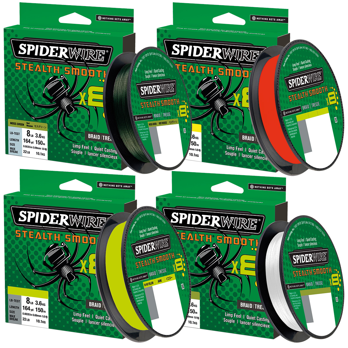 300m NEW Spiderwire Stealth SMOOTH 8 Originalspule