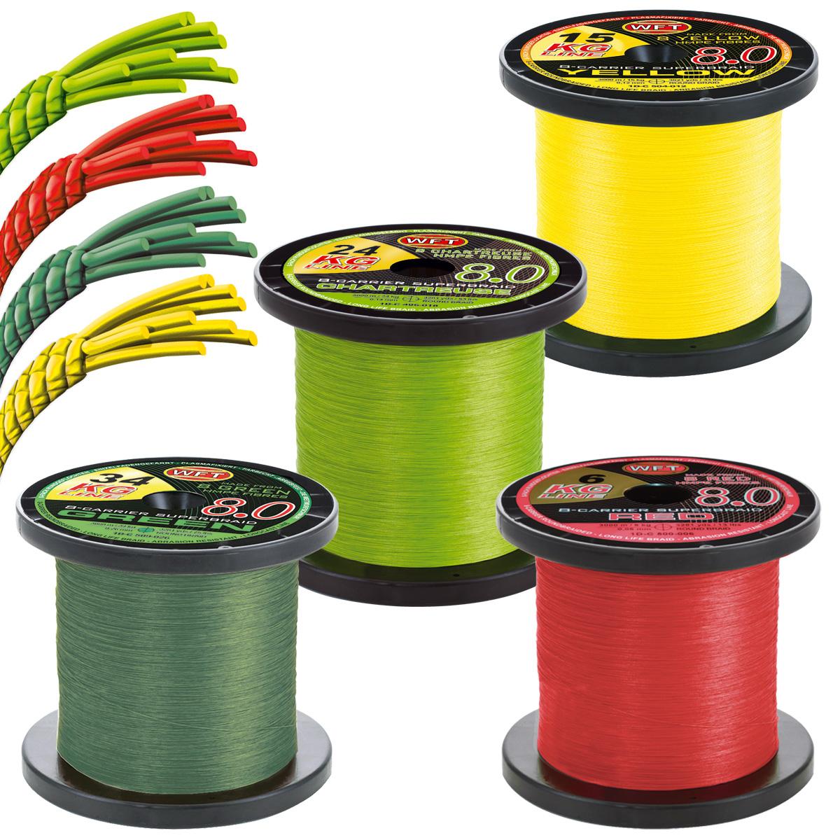 WFT KG 8.0 je 50m geflochtene Angelschnur in Gelb oder Grün
